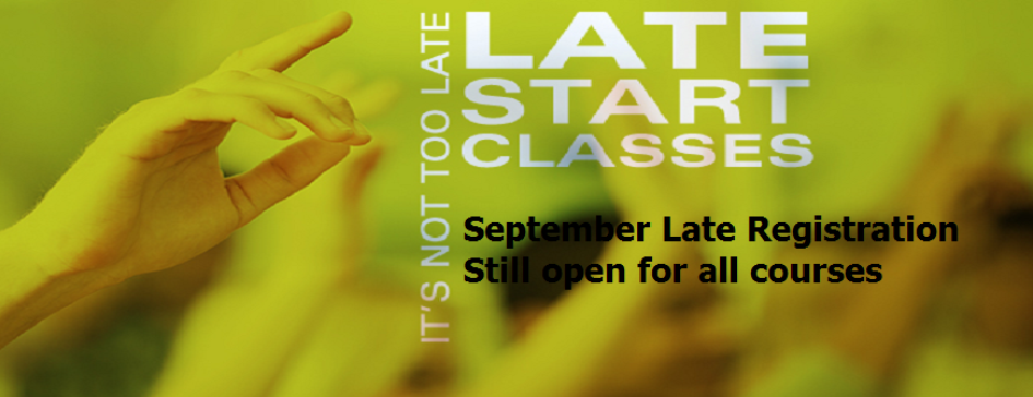 Late Registration available for September 2014